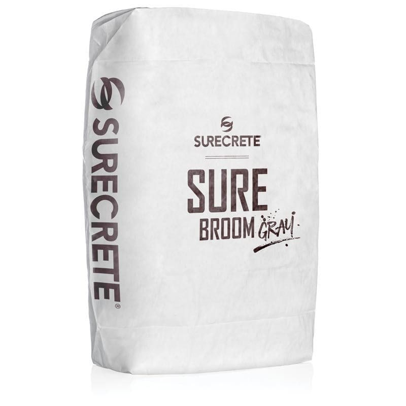SureBroom ™ Gray is a concrete broom overlay mix that comes in a gray or white mix. Patio or driveway concrete overlay is for sold or damaged concrete with SureCrete's just add water mix and when applied properly, our broom overlay product test well over 6000 PSI when cured.