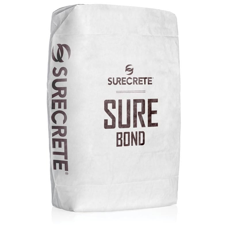 Surecrete's SureBond™ a concrete bonding agent for overlays and cement repair products. SureBond is a just add water product available in a 50-pound bag in a white powder form that can bee colored with any of SureCrete color packs including gray.