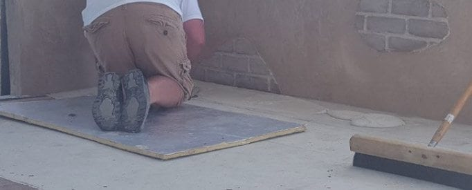 concrete overlay desert sand troweled thin for designing wood floor look