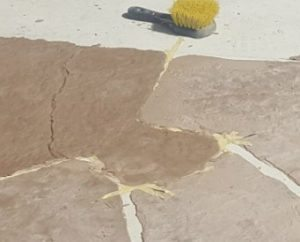 pulling custon flagston tapes thin concrete overlay tan concrete