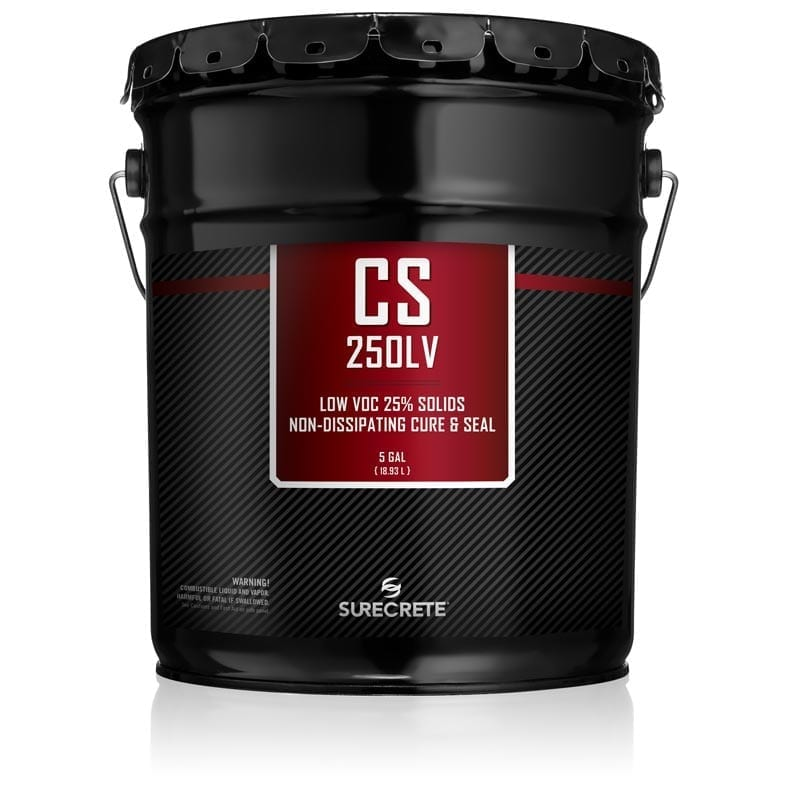 CS-250LV™ is a twenty-five percent solids, solvent based, non-dissipating, color enhancing, gloss finish curing membrane that meets ASTM Standards