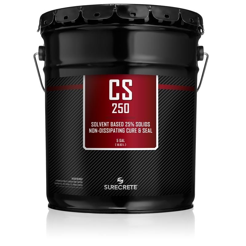 CS-250 is a twenty-five percent solids, solvent based, non-dissipating, color enhancing, gloss finish curing membrane that meets ASTM Standards