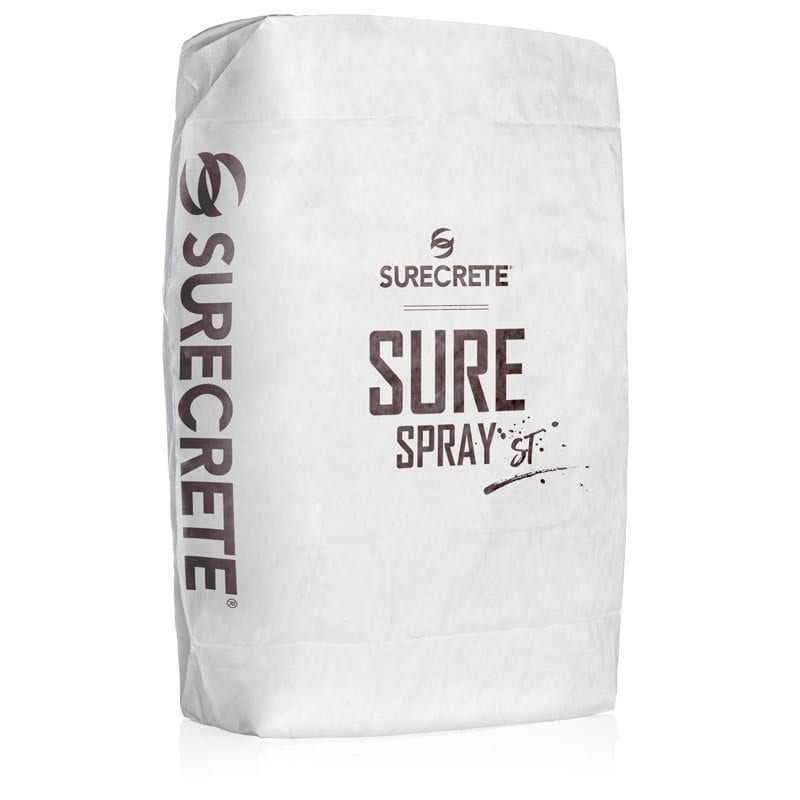SureSpray ST™ is a thin spray concrete overlay mix product for warm weather conditions (slower cure time) that can create many different designs and textures on concrete floors. Sprayed from a hopper gun, you can create a wet bubble look or spray over stencils or tape patterns to create a unique tile look or even brick looking concrete on driveways, sidewalks, patios and pool decks resurfacing.