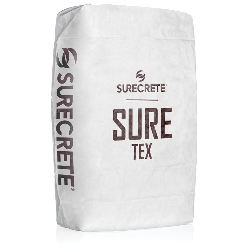 SureTex™ is a concrete knockdown overlay that has larger slightly larger aggregate than other overlays to help creates deeper textures and designs. SureTex is specially formulated for quicker dry time and can be applied with a trowel or sprayed with a hopper gun. This overlay is easy to mix, just add water and one of SureCrete's standard 30 overlay colors.
