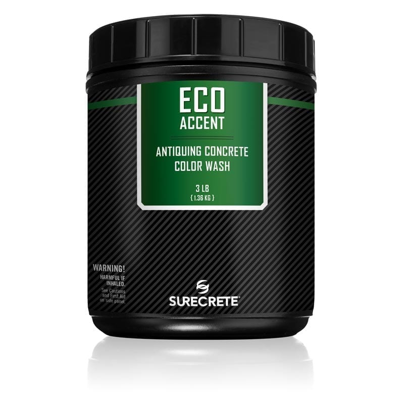 Eco-Accent is a concrete accent color stain product used for accenting new or faded concrete that can be sprayed on or broomed into the surface. SureCrete's secondary concrete accent colorant is UV Stable and has 0 VOC's