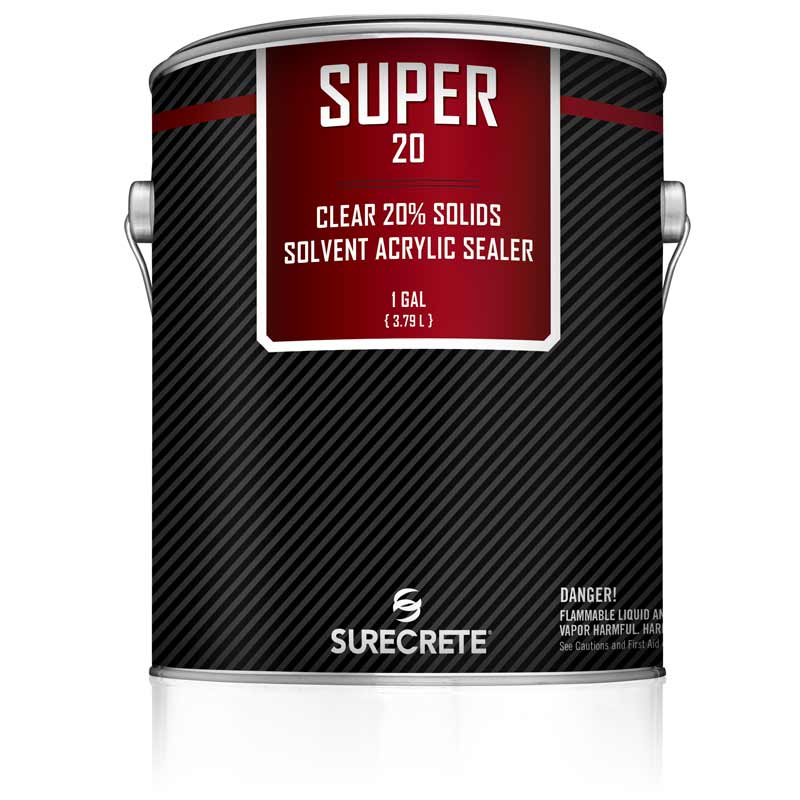 1 Gallon 20% Solids Exterior Concrete Clear Gloss Sealer Solvent Acrylic Super 20™ by SureCrete