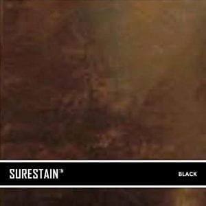 Black SureStain™ is a low residue concrete acid stain that comes in 8 earth-tone colors. Made from a very mild hydrochloric or phosphoric acid solution, wetting agents, and metallic ions (salts), and specially formulated pigments
