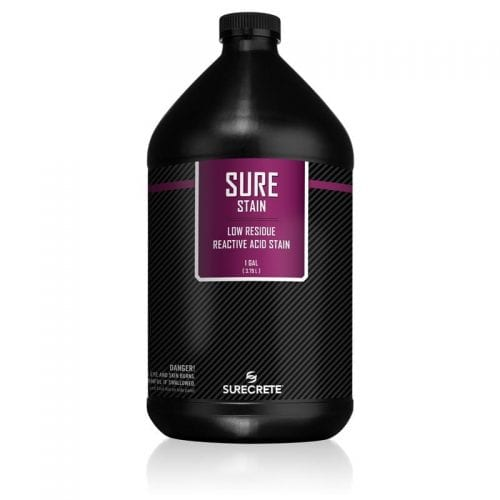 SureStain™ is a low residue concrete acid stain that comes in 8 earth-tone colors. Made from a very mild hydrochloric or phosphoric acid solution, wetting agents, and metallic ions (salts), and specially formulated pigments