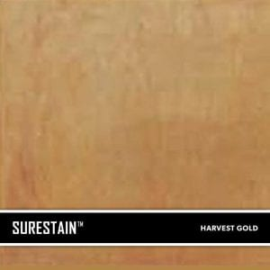 Harvest Gold SureStain™ is a low residue concrete acid stain that comes in 8 earth-tone colors. Made from a very mild hydrochloric or phosphoric acid solution, wetting agents, and metallic ions (salts), and specially formulated pigments