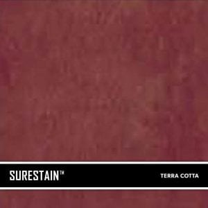 Terra Cotta SureStain™ is a low residue concrete acid stain that comes in 8 earth-tone colors. Made from a very mild hydrochloric or phosphoric acid solution, wetting agents, and metallic ions (salts), and specially formulated pigments