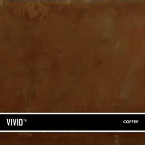 Coffee VIVID is a reactive acid stain that creates a beautiful variegated appearance by reacting with calcium and lime in concrete and cement-based overlays.