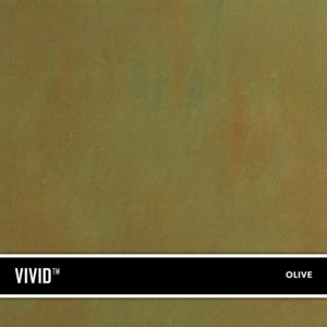 Olive VIVID is a reactive acid stain that creates a beautiful variegated appearance by reacting with calcium and lime in concrete and cement-based overlays.