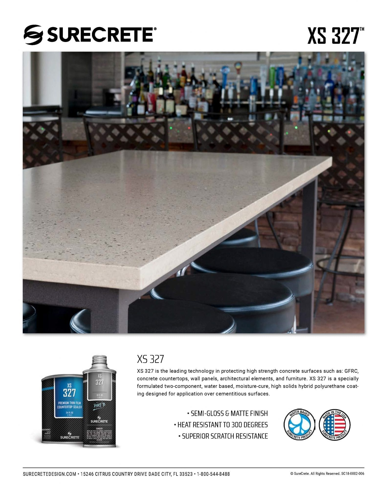 Concrete Countertop Sealer Food Safe Coating Gloss or Matte XS 9™
