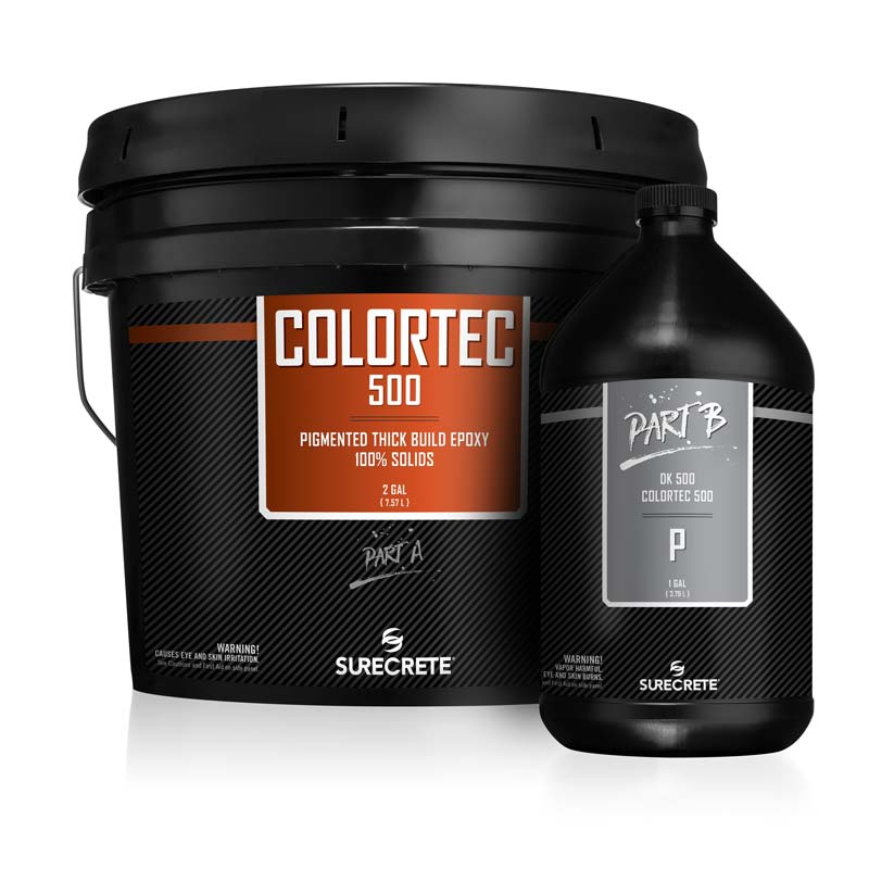 SureCrete's Dura-Kote ColorTec500™ premium color epoxy 100% for floors is available in three and fifteen-gallon kits. 30 Standard colors including black, white, blue, gray, green, red and with SureCrete's On-Demand tint machine, color matching virtually any color needed.