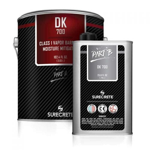 New for 2017: SureCrete's DK 700 is a class 1 moisture barrier and vapor blocker for concrete floors. This moisture blocker can be applied between 3 to 5 mils making a gallon go over 300 square feet depending on concrete floors surface conditions. Used as a primer coat, DK 700 will help keep moisture and air from coming up from concrete floors, eliminating unwanted bubbles and pinholes when applying epoxy, polyurethane floor coatings.