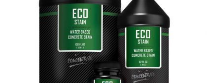 Eco-Stain™ is a liquid semi-transparent water-based concrete stain for accent coloring that can be sprayed, brushed rolled or even sponged. Used for staining concrete floors and walls including overlays and cast concrete products. New for 2017, Eco-Stan is now available in a concentrated liquid 32oz. bottle that makes one full gallon and a 128 oz. concentrated bottle. Offered in 30 UV stable concrete stain colors, EcoStain™ can be diluted up to 10:1 to create virtually any color stain color desired. Applying concrete dyes has never been easier.