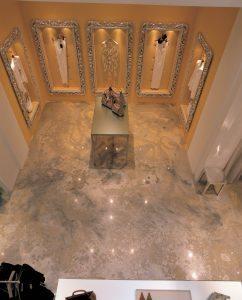 NYC store floor coated in epoxy metallics