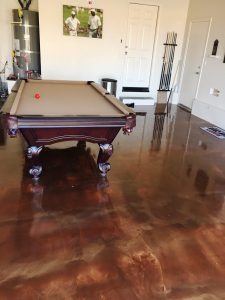 brown metallic gameroom floor