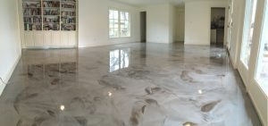 champagne and brown metallic floor coating
