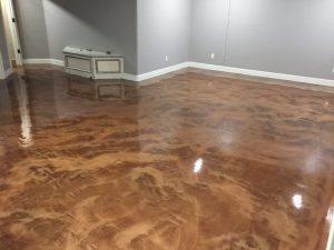 coffee and brass metallic floor sealer