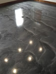 dark gray conference room floor metallic shine