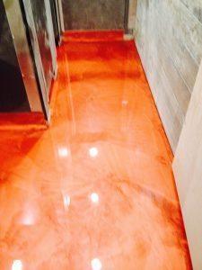 high gloss orange metallic floor from epoxy