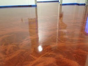 large office floor brown metallic floor coating