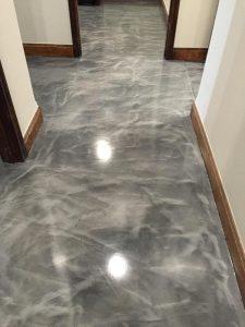 light gray and silver metallic coating on floor