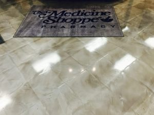 metallic coating over tile floor