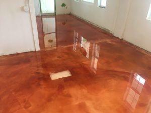 orange metallic floor