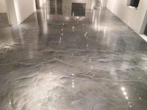 silver metallic reflective floor