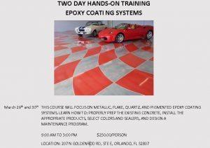 Orlando Epoxy Training Class March 29 2018
