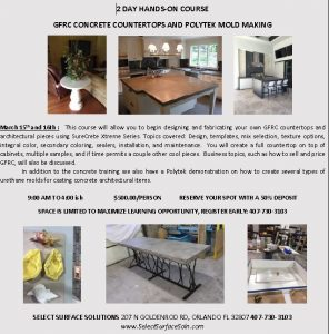 Orlando Florida Concrete Countertop and Molding Class March 15th 2018
