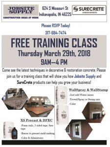 Indianapolis Indiana 1 Day Free Concrete Training Class