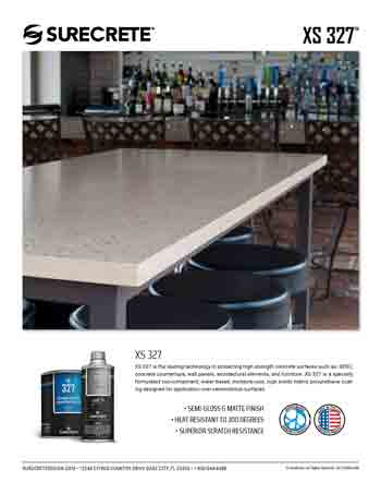XS-327 Concrete Countertop Sealer sell sheet
